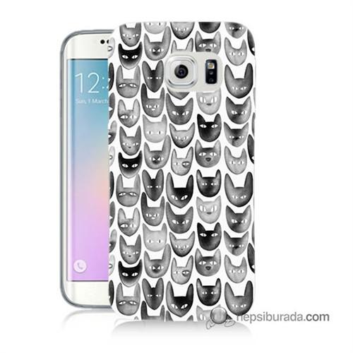 Teknomeg Samsung Galaxy S6 Edge Kapak Kılıf Kediler Baskılı Silikon