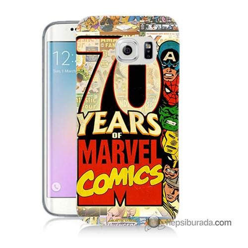 Teknomeg Samsung Galaxy S6 Edge Kılıf Kapak Marvel Karakterleri Baskılı Silikon