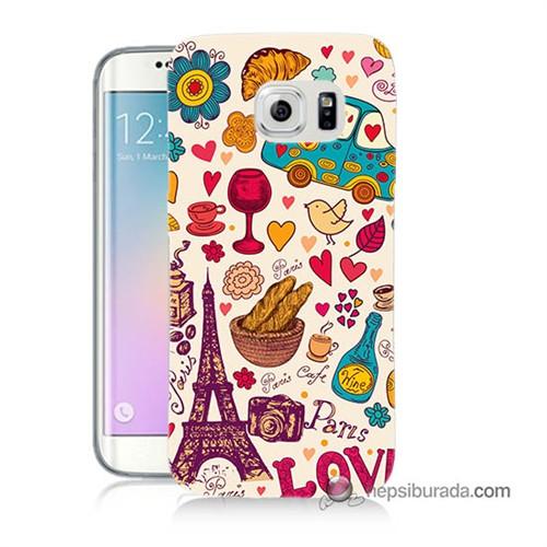 Teknomeg Samsung Galaxy S6 Edge Kapak Kılıf Paris Love Baskılı Silikon