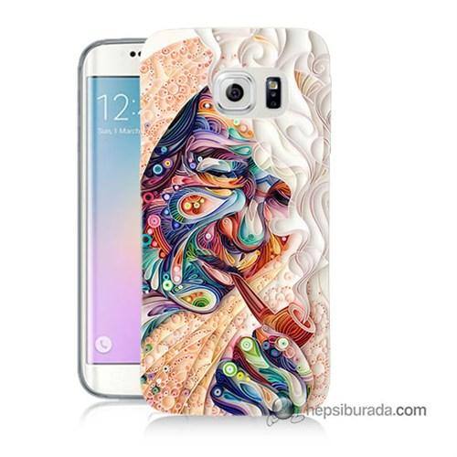 Teknomeg Samsung Galaxy S6 Edge Plus Kılıf Kapak Kağıt Sanatı Baskılı Silikon