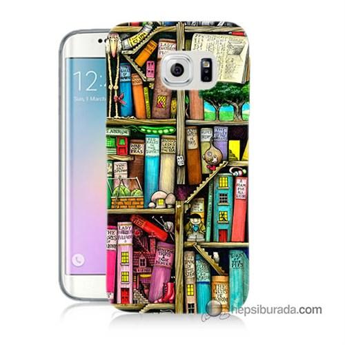Teknomeg Samsung Galaxy S6 Edge Plus Kapak Kılıf Kitaplık Baskılı Silikon
