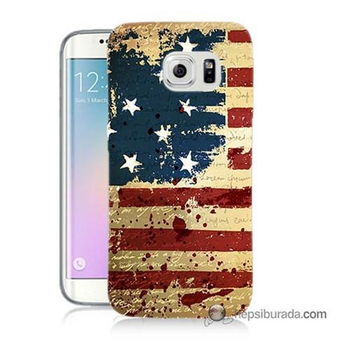 Teknomeg Samsung Galaxy S6 Edge Plus Kılıf Kapak Amerika Bayrağı Baskılı Silikon
