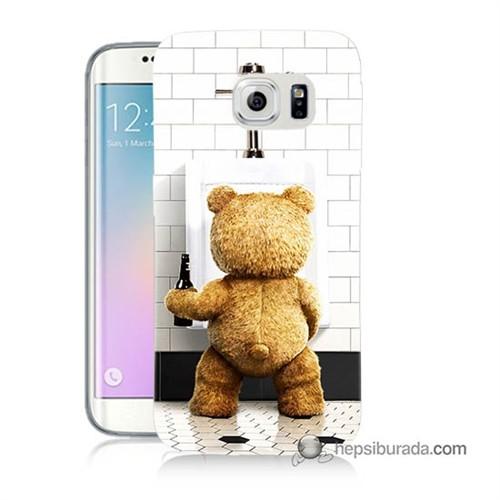 Teknomeg Samsung Galaxy S6 Edge Plus Kılıf Kapak Tedy Bear Baskılı Silikon