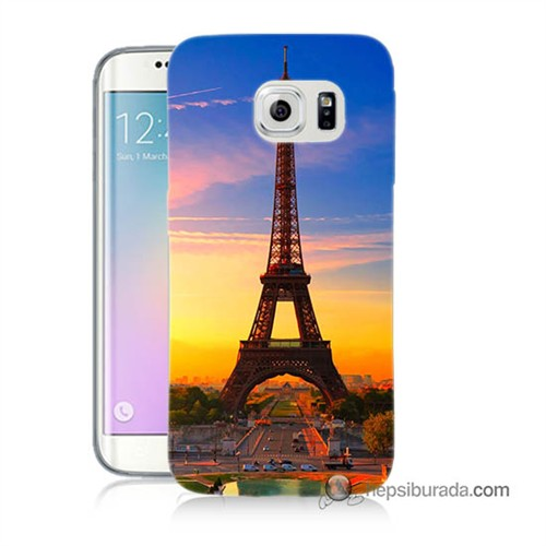Teknomeg Samsung Galaxy S6 Edge Kapak Kılıf Eyfelde Gün Batımı Baskılı Silikon