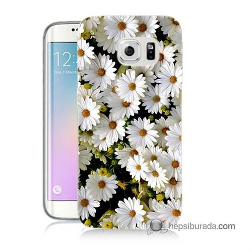 Teknomeg Samsung Galaxy S6 Edge Plus Kılıf Kapak Papatyalar Baskılı Silikon
