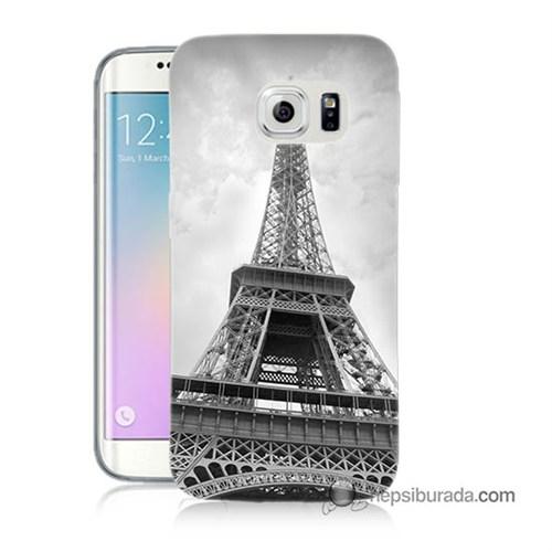 Teknomeg Samsung Galaxy S6 Edge Plus Kapak Kılıf Eyfel Kulesi Baskılı Silikon