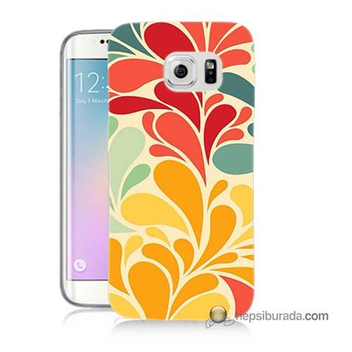 Teknomeg Samsung Galaxy S6 Edge Plus Kapak Kılıf Çiçekler Baskılı Silikon