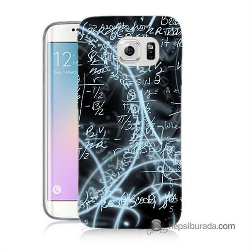 Teknomeg Samsung Galaxy S6 Edge Plus Kapak Kılıf Matematik Baskılı Silikon