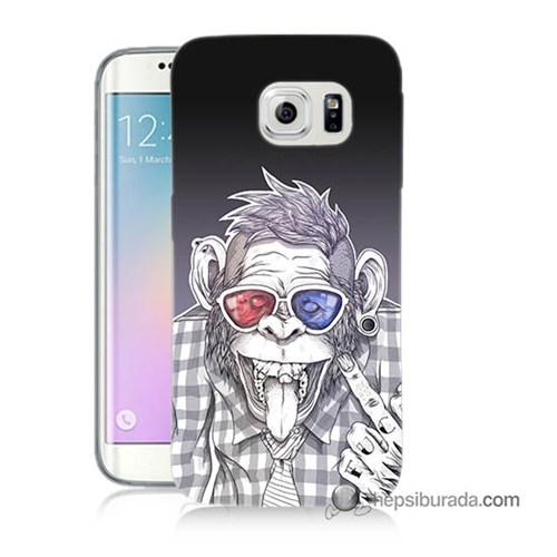Teknomeg Samsung Galaxy S6 Edge Plus Kapak Kılıf Maymun Baskılı Silikon