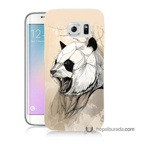 Teknomeg Samsung Galaxy S6 Edge Kapak Kılıf Kavgacı Panda Baskılı Silikon
