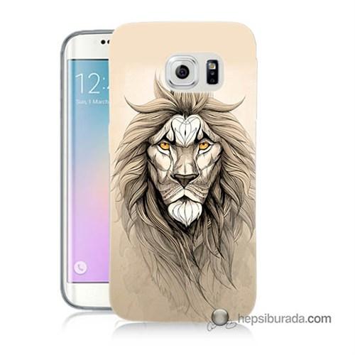 Teknomeg Samsung Galaxy S6 Edge Kılıf Kapak Beyaz Aslan Baskılı Silikon