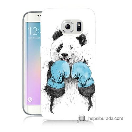 Teknomeg Samsung Galaxy S6 Edge Kılıf Kapak Boksör Panda Baskılı Silikon