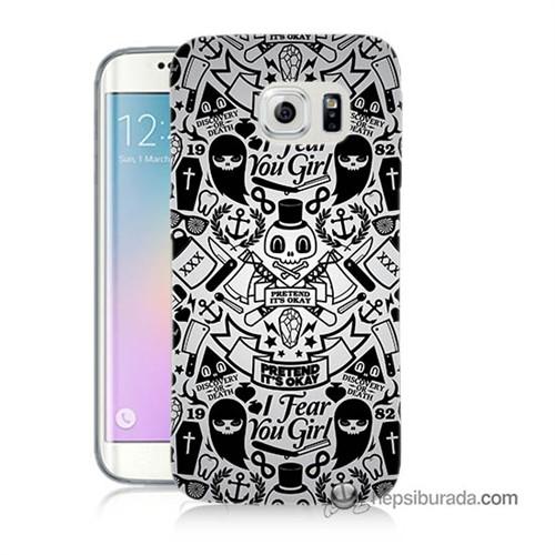 Teknomeg Samsung Galaxy S6 Edge Kılıf Kapak Karikatür Baskılı Silikon