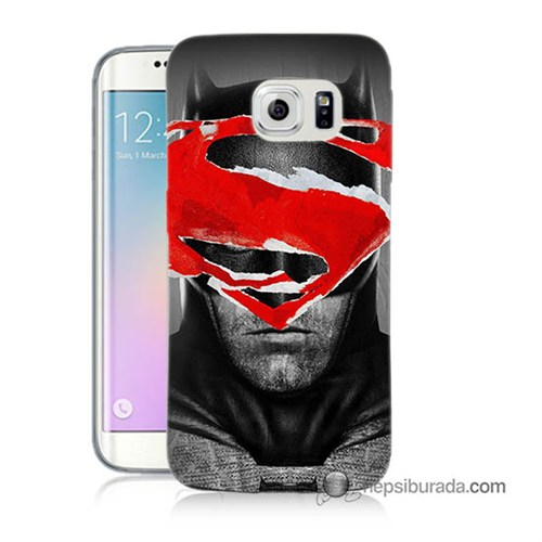 Teknomeg Samsung Galaxy S6 Edge Kapak Kılıf Batman Vs Superman Baskılı Silikon
