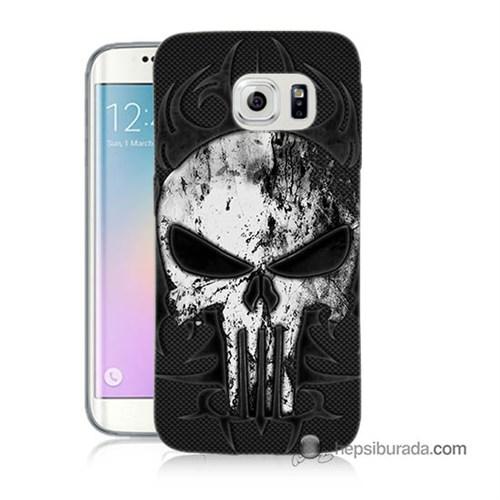 Teknomeg Samsung Galaxy S6 Edge Kapak Kılıf Punnisher Kurukafa Baskılı Silikon