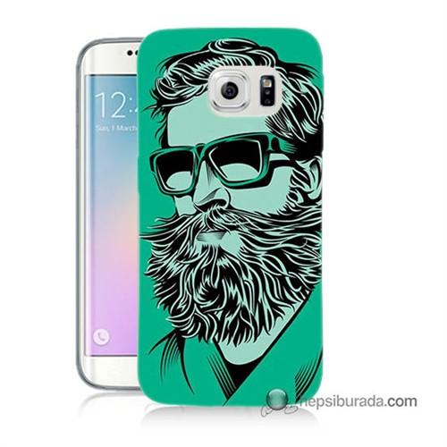 Teknomeg Samsung Galaxy S6 Edge Kılıf Kapak Beard Art Baskılı Silikon