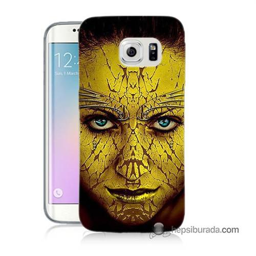 Teknomeg Samsung Galaxy S6 Edge Kapak Kılıf Sarı Kız Baskılı Silikon