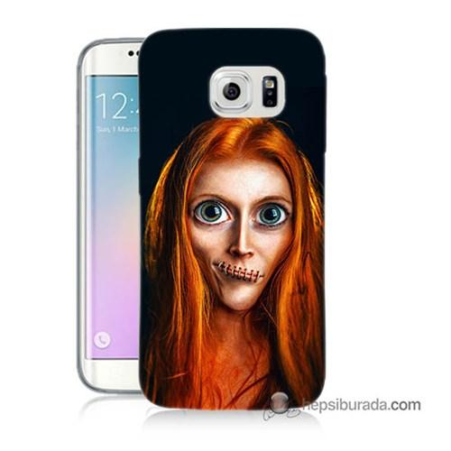 Teknomeg Samsung Galaxy S6 Edge Kılıf Kapak Zombie Kız Baskılı Silikon