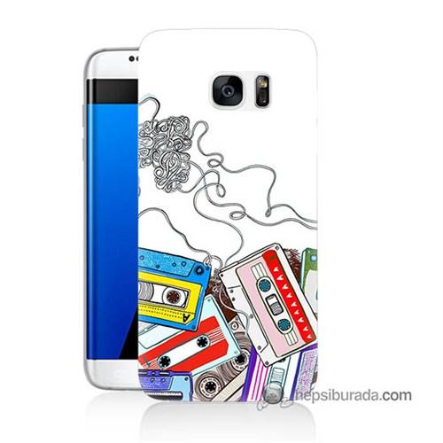 Teknomeg Samsung Galaxy S7 Edge Kapak Kılıf Kasetler Baskılı Silikon
