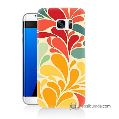 Teknomeg Samsung Galaxy S7 Edge Kapak Kılıf Çiçekler Baskılı Silikon