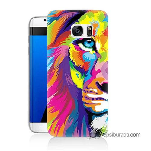 Teknomeg Samsung Galaxy S7 Edge Kılıf Kapak Renkli Aslan Baskılı Silikon
