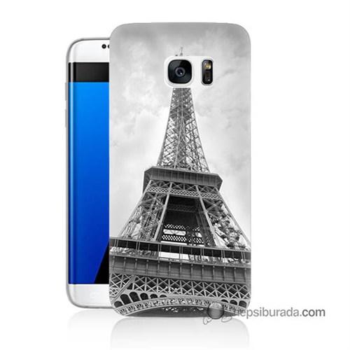 Teknomeg Samsung Galaxy S7 Edge Kapak Kılıf Eyfel Kulesi Baskılı Silikon