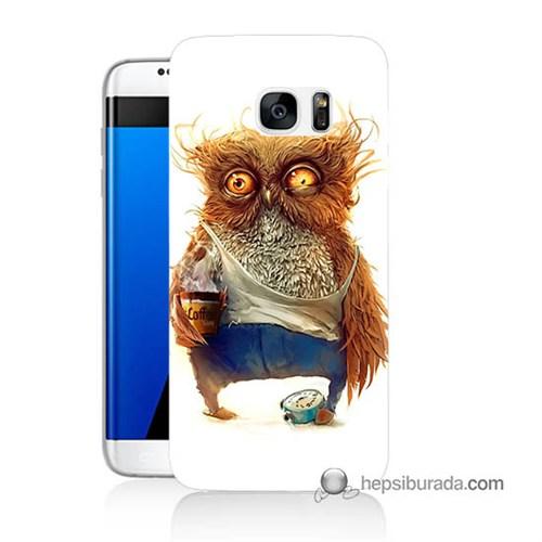 Teknomeg Samsung Galaxy S7 Edge Kapak Kılıf Miskin Baykuş Baskılı Silikon