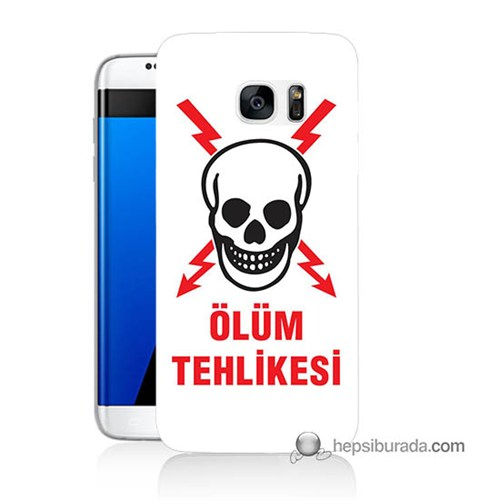 Teknomeg Samsung Galaxy S7 Edge Kapak Kılıf Ölüm Tehlikesi Baskılı Silikon