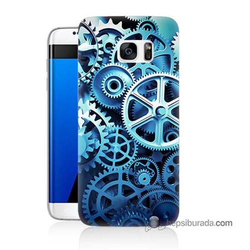 Teknomeg Samsung Galaxy S7 Edge Kapak Kılıf Çarklar Baskılı Silikon