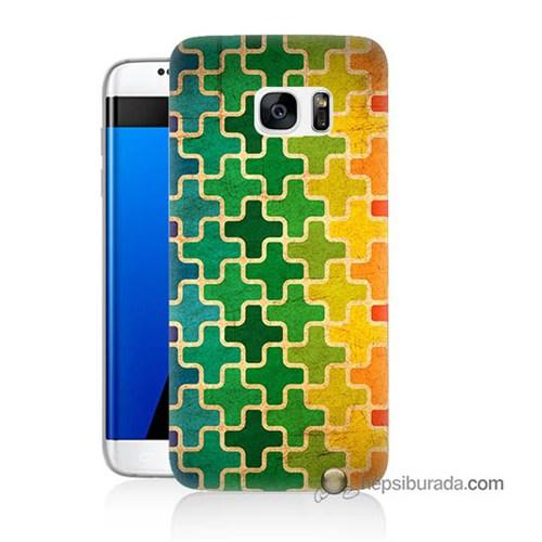 Teknomeg Samsung Galaxy S7 Edge Kapak Kılıf Renkli Artı Baskılı Silikon