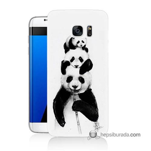Teknomeg Samsung Galaxy S7 Edge Kapak Kılıf Panda Ailesi Baskılı Silikon