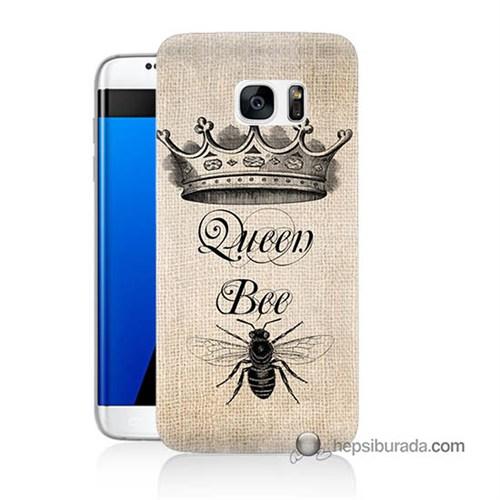 Teknomeg Samsung Galaxy S7 Edge Kılıf Kapak Queen Bee Baskılı Silikon