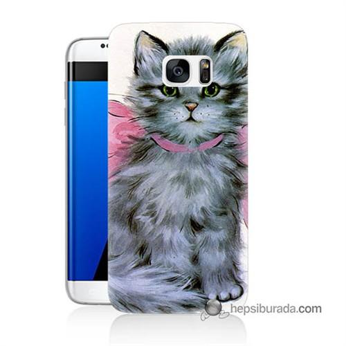 Teknomeg Samsung Galaxy S7 Edge Kılıf Kapak Papyonlu Kedi Baskılı Silikon
