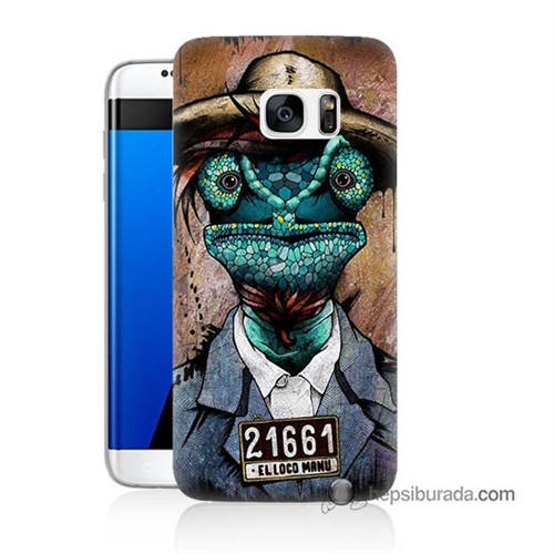 Teknomeg Samsung Galaxy S7 Edge Kılıf Kapak İguana Adam Baskılı Silikon