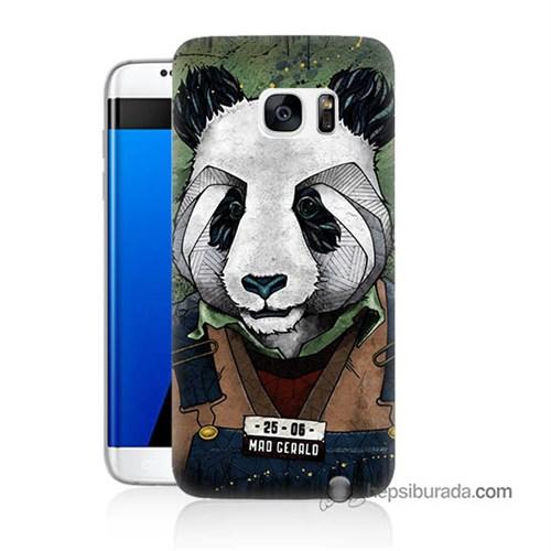 Teknomeg Samsung Galaxy S7 Edge Kapak Kılıf İşçi Panda Baskılı Silikon