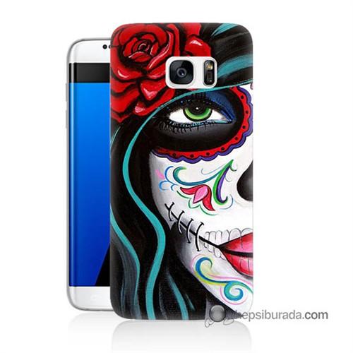 Teknomeg Samsung Galaxy S7 Edge Kılıf Kapak Çiçekli Kız Baskılı Silikon