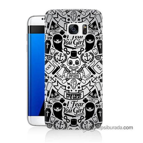 Teknomeg Samsung Galaxy S7 Edge Kılıf Kapak Karikatür Baskılı Silikon