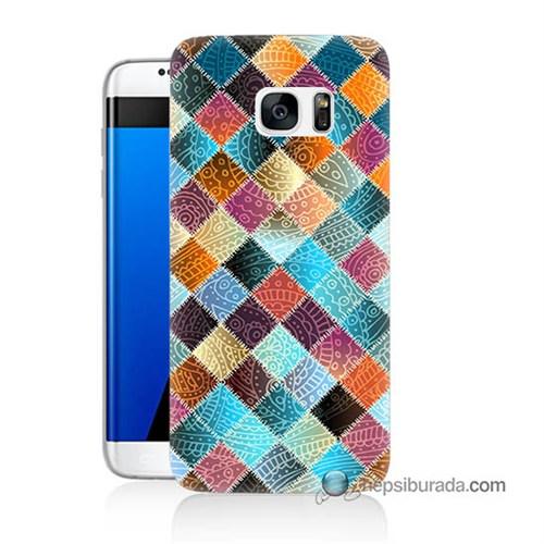 Teknomeg Samsung Galaxy S7 Edge Kılıf Kapak Kırkyama Baskılı Silikon
