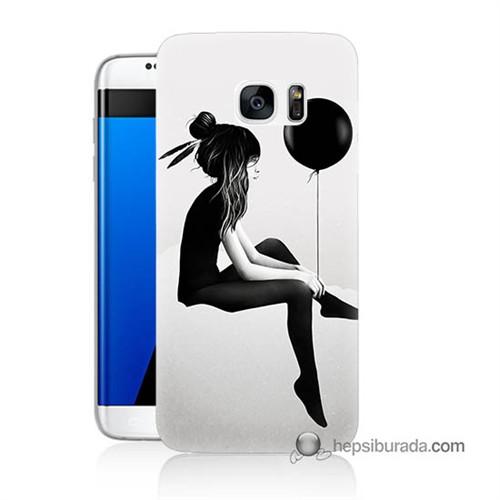 Teknomeg Samsung Galaxy S7 Edge Kapak Kılıf Balonlu Kız Baskılı Silikon