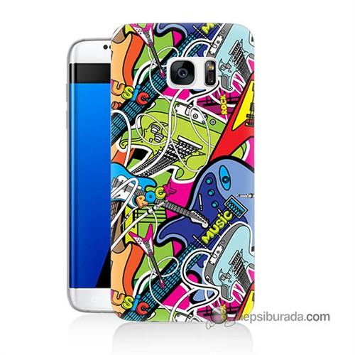 Teknomeg Samsung Galaxy S7 Edge Kapak Kılıf Gitar Baskılı Silikon