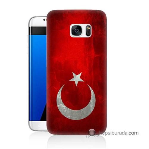 Teknomeg Samsung Galaxy S7 Edge Kılıf Kapak Türkiye Bayrağı Baskılı Silikon