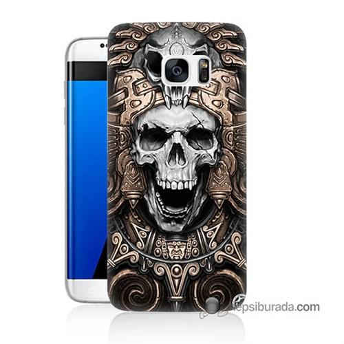 Teknomeg Samsung Galaxy S7 Edge Kılıf Kapak Kafatası Krallığı Baskılı Silikon