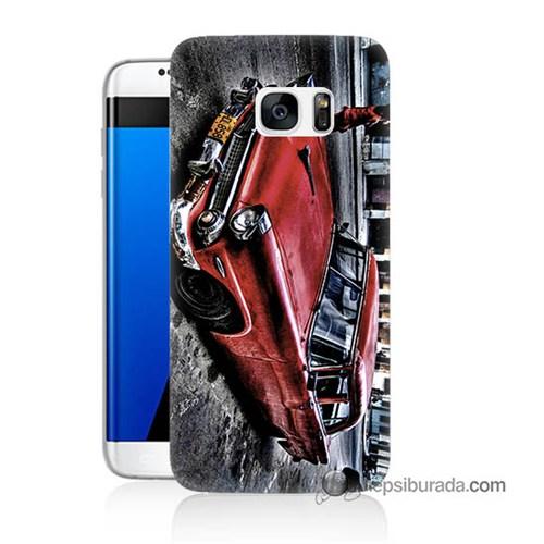 Teknomeg Samsung Galaxy S7 Edge Kılıf Kapak Klasik Araba Baskılı Silikon