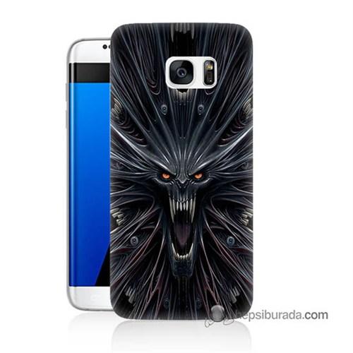 Teknomeg Samsung Galaxy S7 Edge Kılıf Kapak Korku Canavarı Baskılı Silikon