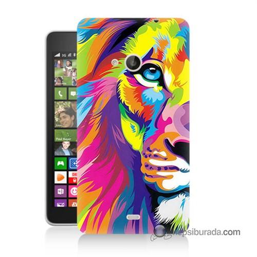 Teknomeg Nokia Lumia 535 Kılıf Kapak Renkli Aslan Baskılı Silikon