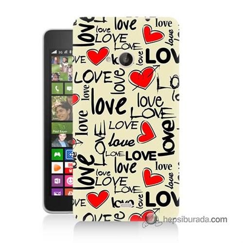Teknomeg Nokia Lumia 535 Kapak Kılıf Love Baskılı Silikon