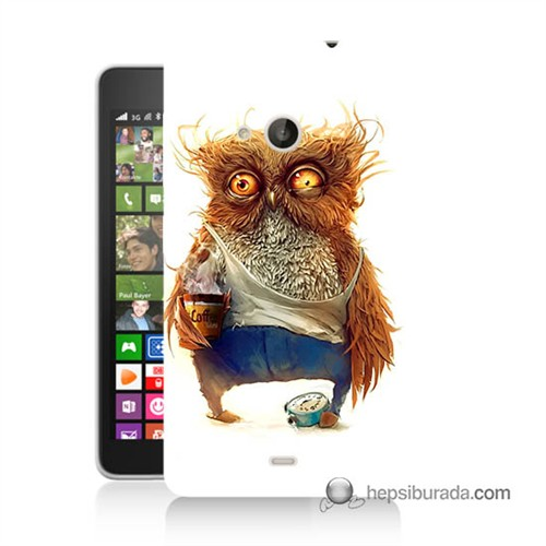 Teknomeg Nokia Lumia 535 Kapak Kılıf Miskin Baykuş Baskılı Silikon