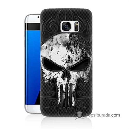 Teknomeg Samsung Galaxy S7 Edge Kapak Kılıf Punnisher Kurukafa Baskılı Silikon