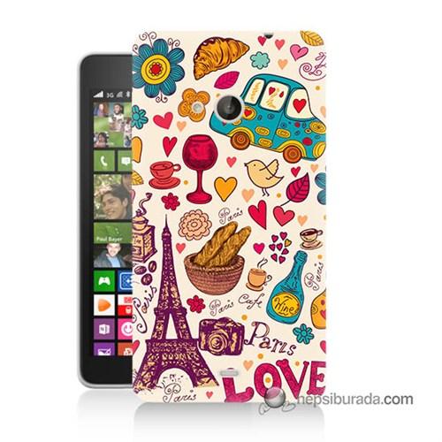 Teknomeg Nokia Lumia 535 Kapak Kılıf Paris Love Baskılı Silikon