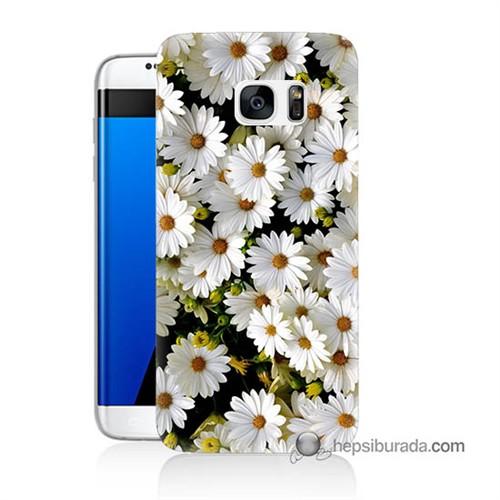 Teknomeg Samsung Galaxy S7 Edge Kılıf Kapak Papatyalar Baskılı Silikon